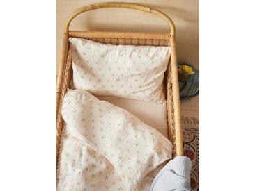 """Housse de couette bébé en gaze de coton """"Baby Gaufrée"""" imprimé fleurs rose"""