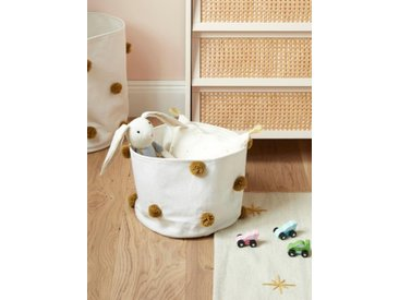Panier coton pompons, diam. 23 cm blanc