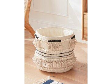 Panier coton à franges, haut. 30 cm noir/blanc
