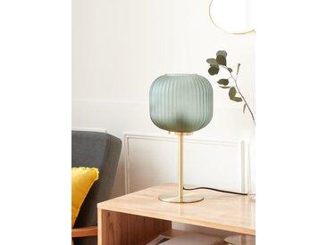 Lampe métal et verre strié vert