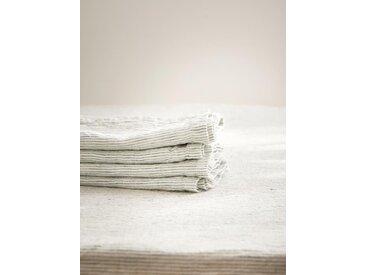 Serviette de table en lin lavé par lot de 4 blanc / rayé bleu