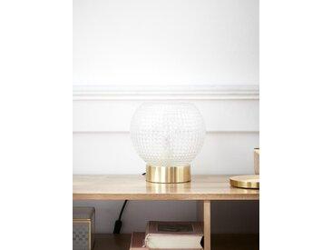 Lampe globe verre ciselé doré