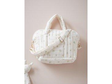 Petit sac à langer matelassé en gaze de coton imprimé fleurs rose