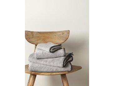 Serviette éponge finition croquet gris clair