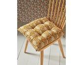 Coussin de chaise en tissu indien par lot de 2 fleuri ocre