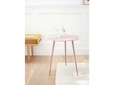 Table d'appoint métal texturé peint rose