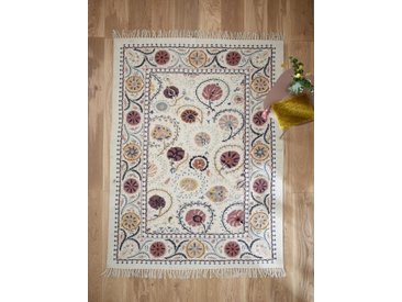 Tapis brodé coton - grand multicolore