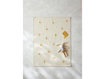 Tapis laine étoiles brodées ivoire