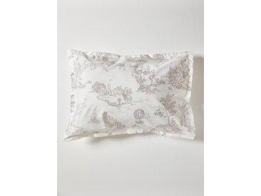 """Taie d'oreiller en percale de coton """"Esprit Jouy"""" blanc/gris"""