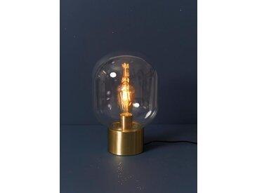 Lampe globe à poser transparent / doré