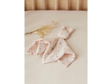 Doudou gaze de coton bio ivoire/ fleuri