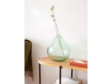 Vase boule en verre vert transparent