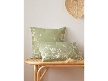 Housse de coussin fleurie pur lin vert clair