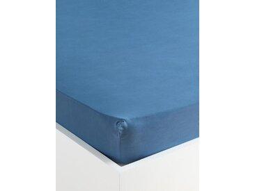 """Drap-housse uni percale de coton """"Indie"""" bleu"""