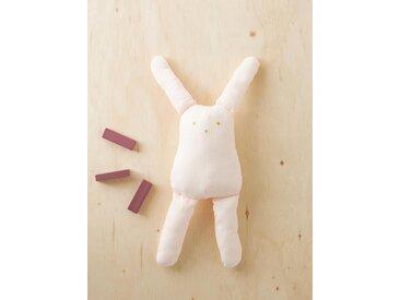 Doudou lapin en gaze de coton rose clair