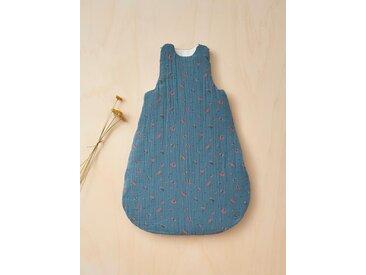 Gigoteuse en coton gaufré fleuri bleu