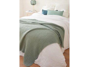 Couvre-lit coton piqué aqua