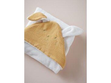 Plaid bébé lapin en coton gaufré et micro-polaire moutarde
