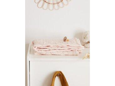 Plaid bébé rayé ivoire/rayé rouge