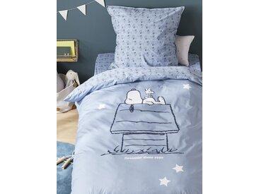 """Housse de couette percale de coton """"Snoopy"""" bleu/snoopy"""