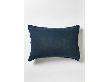 """Taie d'oreiller en lin lavé """"Cocoon"""" bleu orion"""