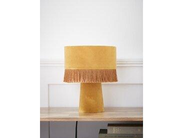 Lampe velours à franges moutarde