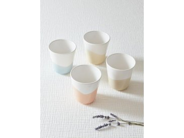 Tasse céramique pastel par lot de 4 blanc / pastel
