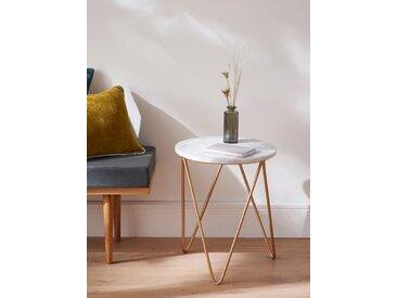 Petite table d'appoint en marbre et métal blanc/doré