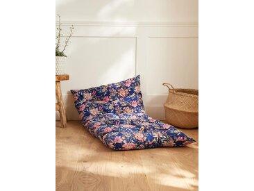 Matelas futon fleuri bleu