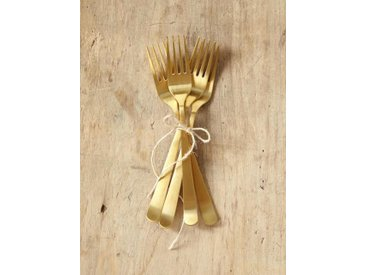 Fourchette en métal mat par lot de 4 doré