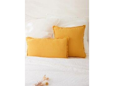 Coussin frangé lin lavé jaune