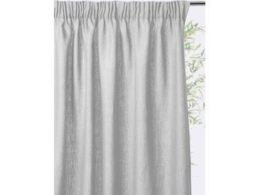 Rideau lin à ruflettes gris perle