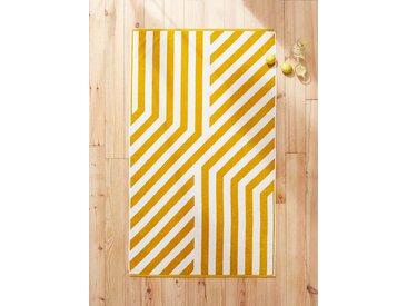 Drap de plage coton velours jaune/blanc