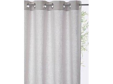 Rideau lin à oeillets gris perle (argent brossé)