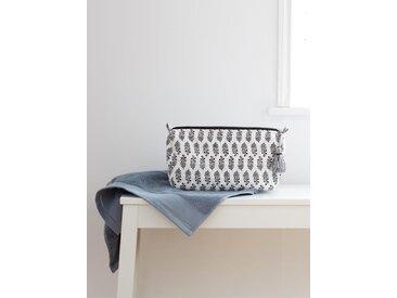 Trousse de toilette en coton blanc/noir