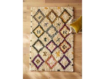 Tapis style berbère coton/laine ivoire/multicolore
