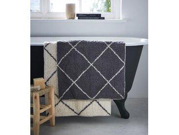 Tapis de bain croisillons granit/croisillons ivoire