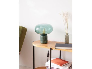 Lampe globe verre et marbre vert