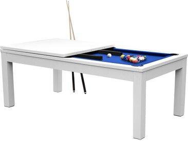 Table de Billard Eddie convertible blanche tapis bleu