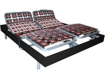 Sommier électrique de relaxation 2x65 plots déco bois noir de DREAMEA - 2 x 80 x 200 cm  - moteurs OKIN