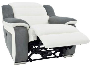 Fauteuil relax électrique en cuir et microfibre ARENA II -Blanc/gris