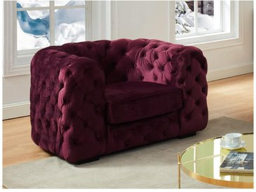 Fauteuil chesterfield STANLEY - Velours pourpre