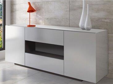 Buffet MALIK - 2 portes & 2 tiroirs - Blanc brillant