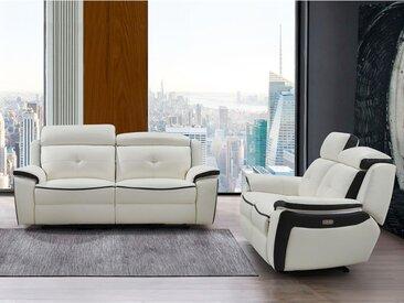 Canapé 3+2 places relax électrique en cuir ANGELIQUE - Blanc/anthracite