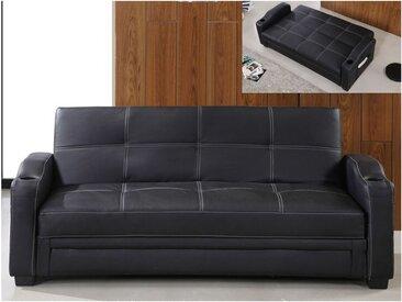 Canapé convertible clic clac en simili MIRELLA - Noir