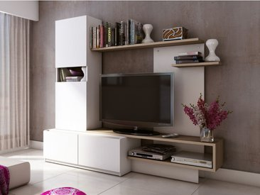 Mur TV RODRIGO avec rangements - MDF - Blanc et chêne