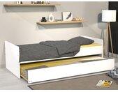 Lit gigogne NOLANE - 2x90x190cm - Laqué blanc + matelas