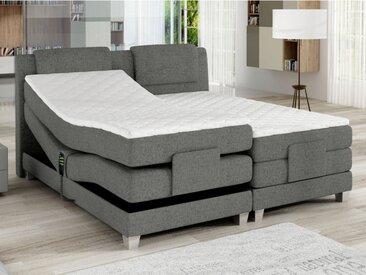 Ensemble boxspring tête de lit + sommiers relaxation électrique + matelas + surmatelas CASTEL de PALACIO -  2 x 80 x 200 cm - Tissu gris clair