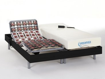 Lit électrique relaxation tout plots matelas mémoire de forme HESIODE III de DREAMEA - moteurs OKIN - noir - 2x80x200cm