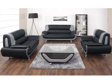 Canapé 3+2+1 places en simili NIGEL - Bicolore noir et gris